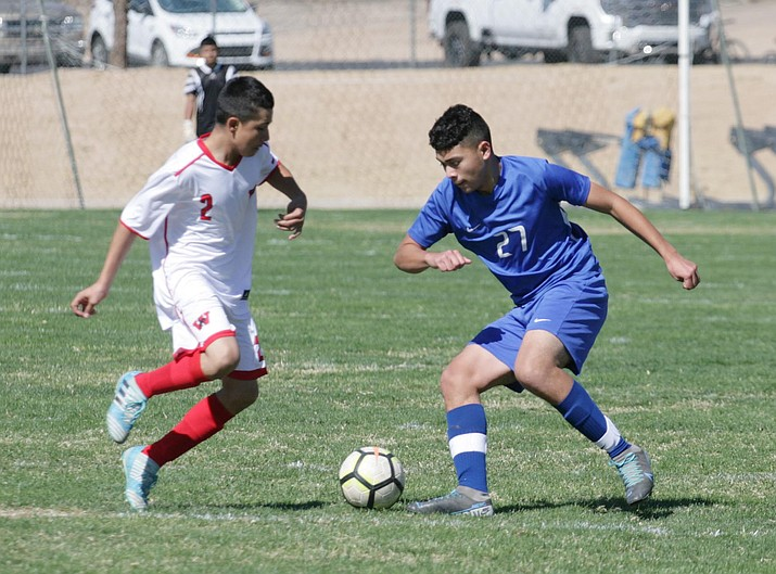 Alex Duran (No. 27), has two goals and two assists this season for the 5-3-1 Camp Verde boys soccer team. Friday, Camp Verde travels to Flagstaff to face the 2-5 Northland Prep Academy Spartans. VVN/Bill Helm