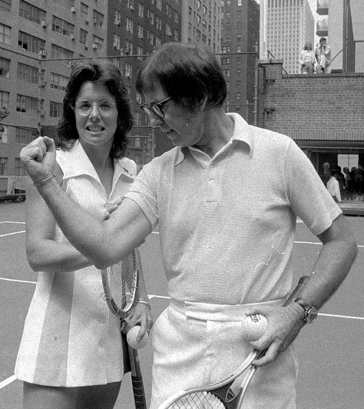 Bobby Riggs poses for Billie Jean King in this undated handout photo. (AP Photo)