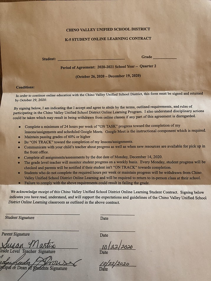 "A letter from the Chino Valley Unified School District has been sent to some parents as a ""contract,"" asking families to meet certain requirements in distance-learning, or be forced to return their child to school. (Tim Smedley/Courtesy)"
