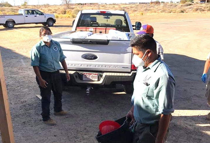 COVID-19 relief is distributed at Songoopavi Village on the Hopi reservation Oct. 23. (Photo/Hopi Foundation)