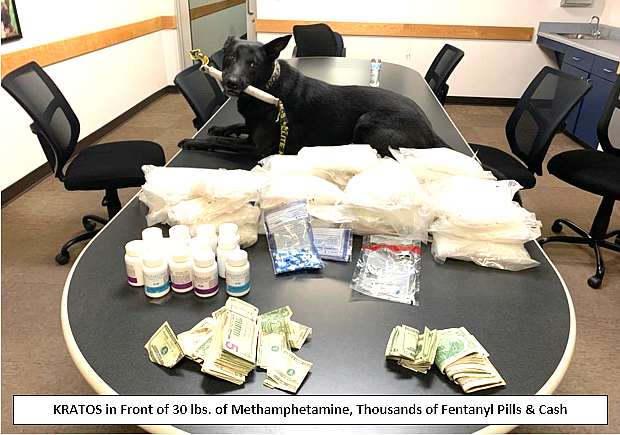 The Cottonwood Police Department's K9, Kratos, poses with drugs seized during a recent traffic stop. Police say a man from Phoenix and a man from Mexico were in a vehicle that turned out to have 30 pounds of methamphetamine and thousands of fentanyl pills with a combined street value of between $200,000 and $300,000. Courtesy of Cottonwood PD