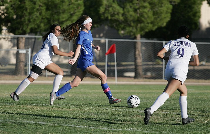 The Camp Verde girls soccer team won its final two matches of the season, 3-0 at home on Oct. 22 to Holbrook, 3-0 at Payson on Oct. 26. Pictured, senior Bridgette Fitzgerald (No. 6). VVN/Bill Helm