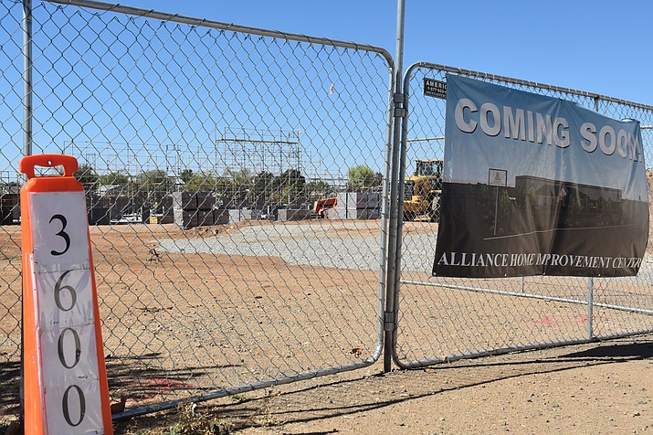 Construction on the new Alliance Home Improvement Center, 3600 N. Glassford Hill Road in Prescott Valley, has gained steam in recent weeks after its groundbreaking in late August behind the Maverik gas station and convenience store.
