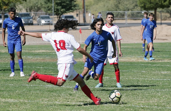 Junior Gary Ortega (No. 4) led Camp Verde in scoring with 11 goals, and was second in assists with five, to help lead the Cowboys to a 7-3-1 record. Ortega has played the past two games in goal for Camp Verde, both shutout victories for the Cowboys. VN/Bill Helm