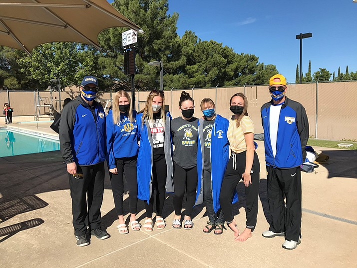 The Prescott girls swim team takes a photo after breaking 11 personal records and qualifying six swimmers for the Division II State Meet during the JR Pooler Invitational Regional Qualifier Meet hosted by Mingus on Saturday, Oct. 31, 2020, in Cottonwood. (Prescott Swim/Courtesy)