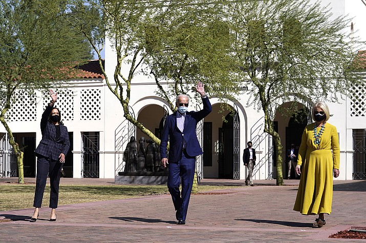Vice presidential candidate Sen. Kamala Harris, D-Calif., Democratic presidential candidate former Vice President Joe Biden, and Cindy McCain visit at Heard Museum in Phoenix Oct. 8. (AP Photo/Carolyn Kaster)