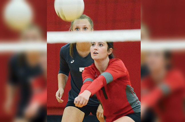 Mingus Union senior Sadie Backus makes a dig in Saturday's match as junior Ella Behlow backs up the play. The Marauders are set to close out the 2020 season with a match Wednesday at Moon Valley in Phoenix. VVN/Vyto Starinskas