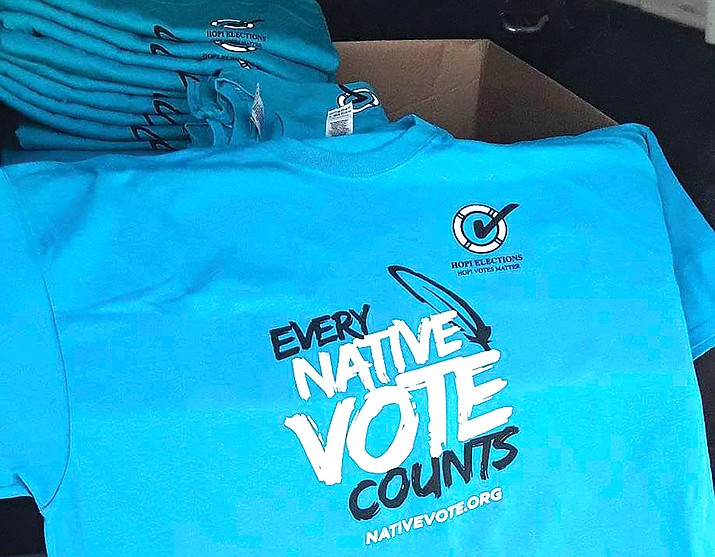 Polling locations are open on the Hopi Reservation for in-person voting and for those wanting to drop off their early voter ballot. The Hopi Elections Office is currently giving away t-shirts from the Inter Tribal Council of Arizona for in-person voters. (Photo courtesy of Karen Balenquah)
