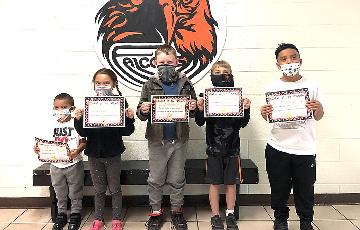 October Students of the Month include Alexander Pantoja-Lomas, Izzabella Rocha, Christopher Sanders, Jaxen Barbee and Jordan Salazer. Not pictured: Alex Loeslein and Jesse Claflin-Hauptmann. (Photo/Williams Elementary-Middle School)