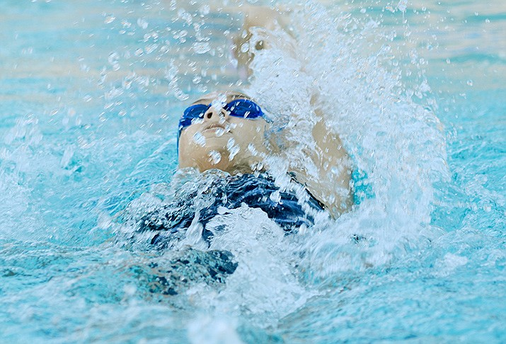 Mingus Union junior Jade Bach competes at last weekend's Northern Arizona State Qualifier meet at the Cottonwood Recreation Center. Bach qualified for this weekend's state championships in two individual events and helped the 200 freestyle relay get into state as well. VVN/Vyto Starinskas