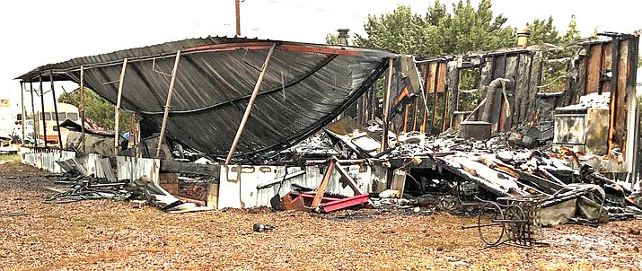 A house fire caused by a household appliance destroyed the home of Timothy Wright, 54, of Holbrook, Arizona Oct. 26. (Photo/Navajo County Sheriff's Office)