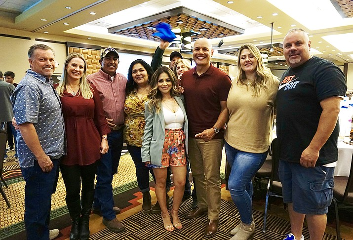 Eric Granillo, third from right, and his supporters take a photo during an election watch party at Prescott Resort and Conference Center on Tuesday, Oct. 3, 2020, in Prescott. Granillo and his opponent Regina Pecoraro are in the running for the final Chino Valley Town Council seat and it the results were too close to call as of that night. (Aaron Valdez/Courier)