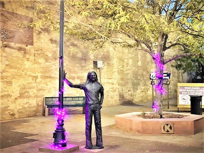 Winslow, Arizona shows its support for domestic violence victims by illuminating streets and businesses with purple lights and ribbons. (Photo/Navajo County Family Advocacy Center)