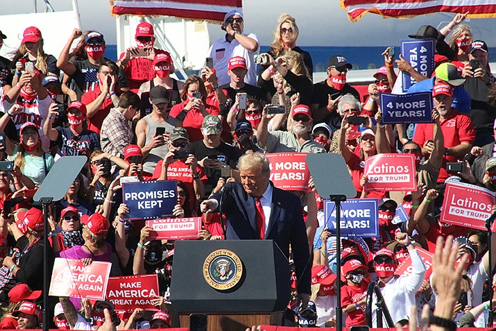The 2020 presidential race was still too early to call the morning of Wednesday, Nov. 4, with the outcome hinging on Wisconsin, Michigan and Pennsylvania. U.S. President Donald Trump is shown during a rally last month in Bullhead City. Trump lost to Democrat Joe Biden in Arizona. (Miner file photo)