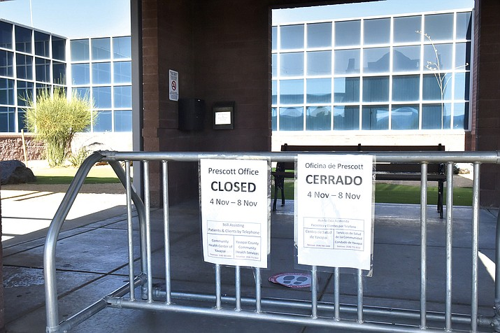 Signs outside the Prescott Yavapai County Community Health Services offices indicate the building is closed. At 5 p.m. on Election Day, Health Director Leslie Horton closed the offices and nearby health clinic after a staff COVID-19 outbreak. (Jesse Bertel/Courier)