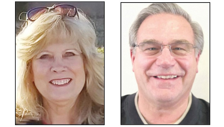 Brenda Dickinson, left, and Roger Kinsinger, are the top two vote getters in a four-person race to fill two seats on the Prescott Valley Town Council. (Courier file photos)