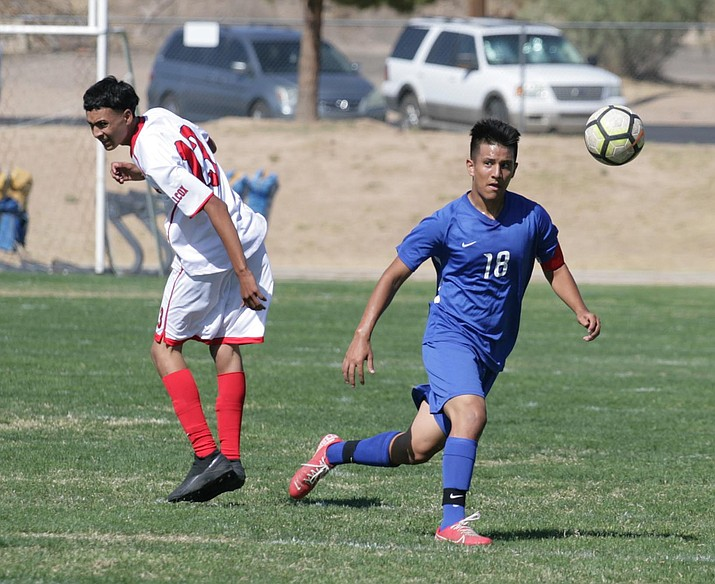 Camp Verde lost 4-0 Wednesday to Snowflake in the quarterfinals of the AIA State Boys Soccer Championships, 2A Conference. Pictured, Marlon Menjivar (No. 18), at home against Willcox. VN/Bill Helm