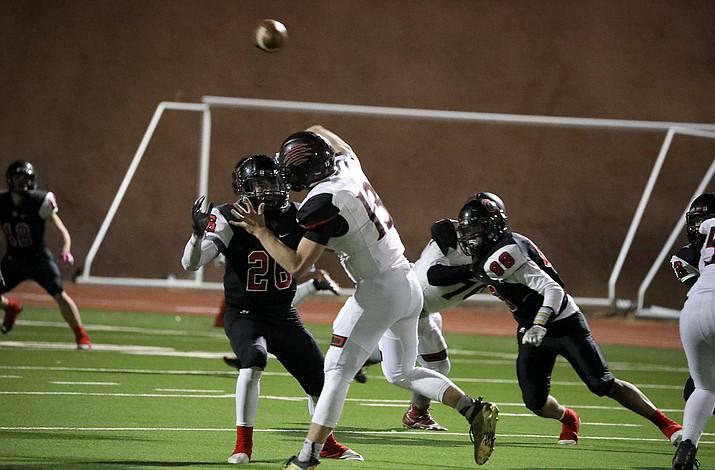 Bradshaw Mountain quarterback Josh Grant throws a pass Oct. 30, 2020, in Flagstaff. (Arizona Daily Sun/Courtesy, file)