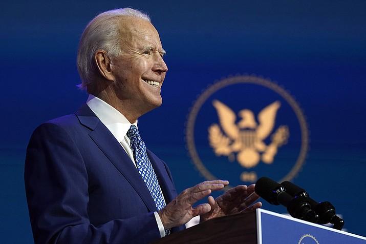 President-elect Joe Biden speaks Monday, Nov. 9, 2020, at The Queen theater in Wilmington, Del. (Carolyn Kaster/AP)