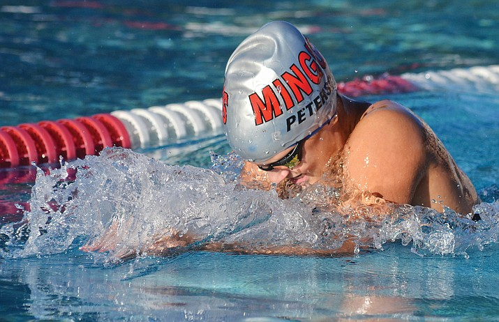 Brooke Peterson, shown here competing in a recent meet, tied for fourth in girls 50 freestyle at last weekend's Division III State Swim Championships in Paradise Valley. The Mingus Union High School girls scored 22.5 points at the meet. VVN file/Vyto Starinskas