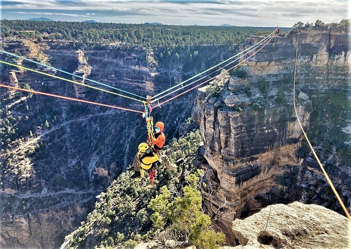 Grand Canyon National Park Search and Rescue conduct highline training over a section of the Grand Canyon along Hermits Road in November. (NPS Photos/A. Marini)