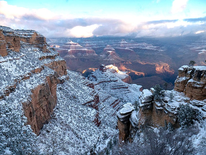 Fresh snow blankets the South Rim of Grand Canyon National Park Nov. 9. (Photo/NPS)