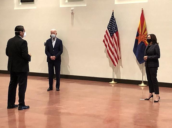 Navajo Nation President Jonathan Nez meets with Joe Biden and Kamala Harris in October. (Photo/Office of the OPVP)