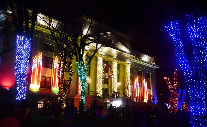 This file photo shows the Yavapai County courthouse lit up for Christmas in 2018. Jersey Lilly Saloon's annual fundraiser has already raised $44,295 of their $50,000 goal. (Courier file photo)