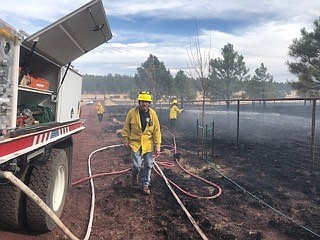 On Nov. 6, Sherwood Forest Fire  Department responded to a wind driven grass fire.  With support from Northern Arizona Water Delivery, the U.S. Forest Service, Ponderosa Fire, Camp Navajo Fire and High Country Fire an aggressive fire attack limited the fire to two acres.  No structures were involved. (Photo/Sherwood Forest Fire)