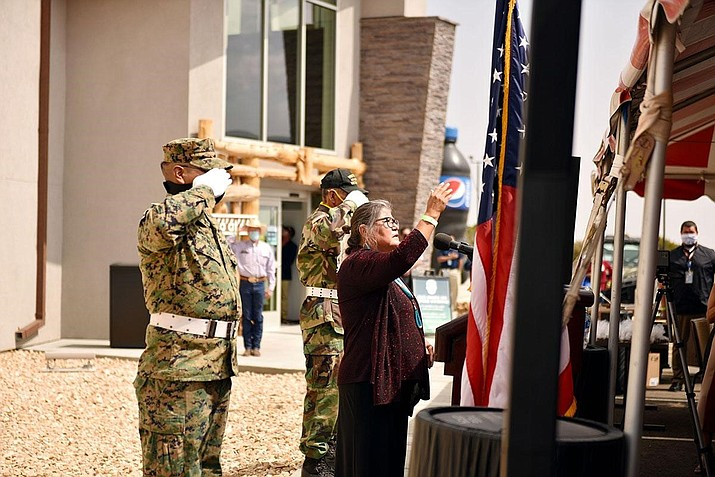 Navajo veterans salute the American flag at the recent opening of the Navajo Blue Travel Plaza in September. (Photo/Office of the Navajo Nation Speaker)