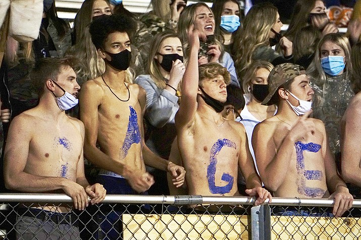 Prescott football fans cheer on the Badgers in a cross-town rivalry game with Bradshaw Mountain on Friday, Nov. 6, 2020, in Prescott Valley. (Aaron Valdez/Courier)