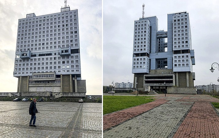 Pictured above are photos of the never-occupied building in Kaliningrad, Russia, Thursday, Oct. 29, 2020. The hulking never-occupied building sardonically likened to a robot's head that has loomed over the city of Kaliningrad for decades is to be demolished next year, the region's governor says. The 21-story House of Soviets was left unfinished when funding ran out in 1985 amid the Soviet Union's economic struggles and later was assessed to be structurally unsound. (AP Photo/James Heintz)