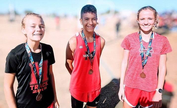 Mingus sophomores Maisie Babcock (left), Cesar Diaz and Makena Bliss all earned All-State honors in Thursday's Arizona State championship Cross Country race at Gilbert's Crossroads Park. VVN/Dan Engler