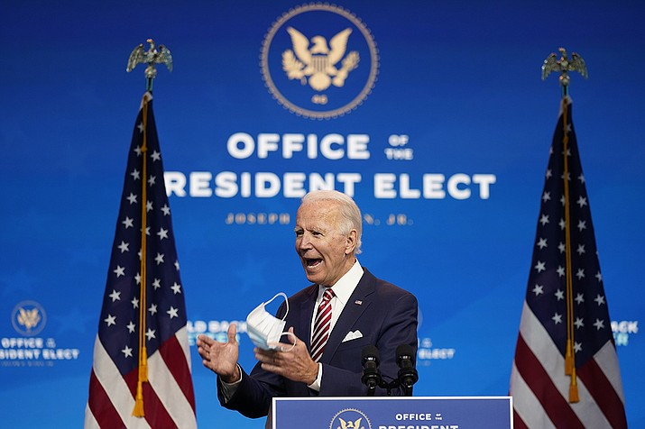 President-elect Joe Biden speaks about economic recovery at The Queen theater, Monday, Nov. 16, 2020, in Wilmington, Del. (Andrew Harnik/AP)