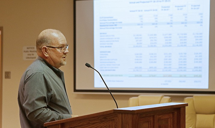 Chino Valley financial director Joe Duffy gives a brief presentation during a regular meeting on Tuesday, Nov. 10, 2020, in Chino Valley. (Town of Chino Valley, Facebook/Courtesy)