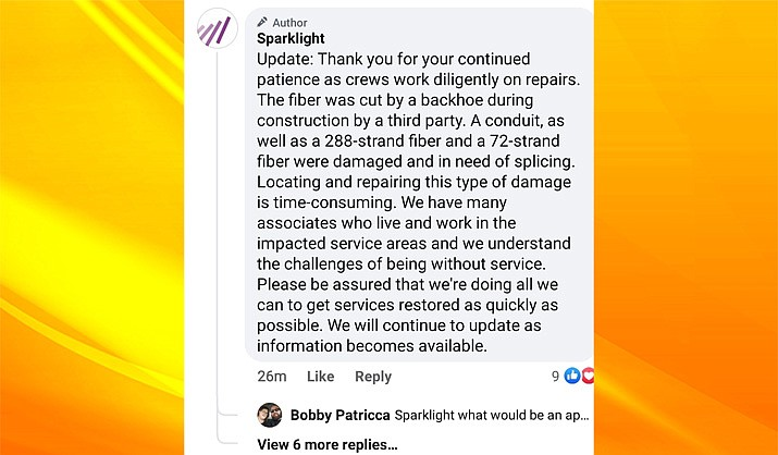 Sparklight's media team offered information via their Facebook page to the nearly 69,000 customers who lost internet service for much of Saturday, Nov. 14, 2020. (Sparklight Facebook page screenshot)