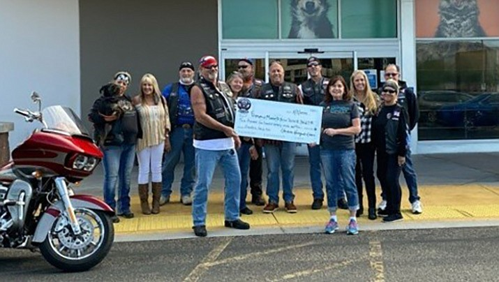 The Havasu Renegade Riders recently donated $3,427 to the Friends of Mohave County Animal Shelter. The money will be used to provide discounted fees for veterans who adopt animals, and pay for surgeries for animals so they can be adopted. (Friends of Mohave County Animal Shelter courtesy photo)