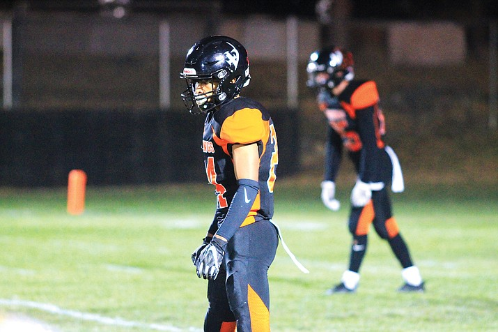 Jason Sagor lines up during an earlier season game with Mogollon. Sagor scored one touchdown in the semifinal game with St. David. The Vikings next face Superior in the semifinals Nov. 20 at Coronado High School. (Wendy Howell/WGCN)