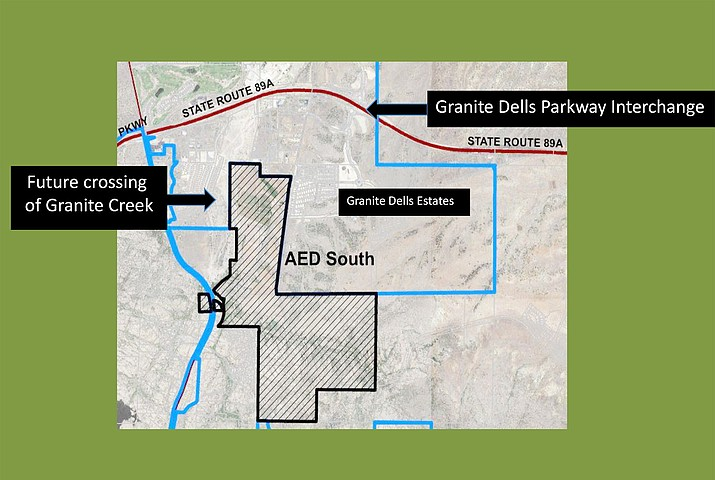 A map shows the AED area in Granite Dells where a future crossing of Granite Creek and a parkway exchange is shown. During a Tuesday, Nov. 17, Prescott City Council workshop on the Arizona Eco Development (AED) annexation, Mayor Greg Mengarelli said the discussion probably would not wrap up this year, and he attributed the delay to a number of circumstances. (City of Prescott/Courtesy)