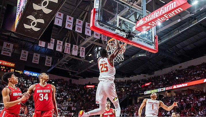 The Phoenix Suns selected Maryland big man Jalen Smith with the 10th pick in the first round of the NBA draft on Wednesday, Nov. 18. (Photo by Alexander Jonesi, cc-by-sa-2.0, https://bit.ly/3lS8tUU)