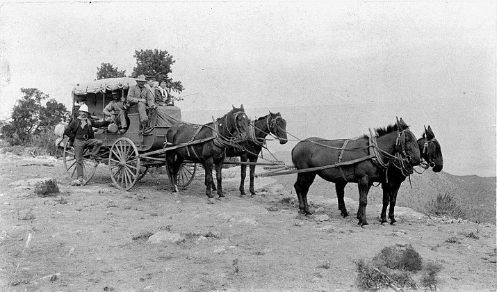 A typical Arizona stage mud wagon (Call # 1095.0101.0003). On Nov. 27, 1880, one person was killed in a stage holdup on the Black Canyon Road in Yavapai County. (Sharlot Hall Museum Research Center, formerly Library & Archives/Courtesy, file)