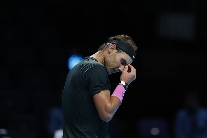 Rafael Nadal reacts during the semifinal match against Daniil Medvedev at the ATP World Finals tennis tournament in London, Saturday, Nov. 21, 2020. (Frank Augstein/AP)