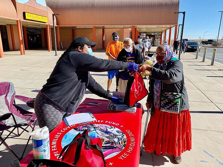 Navajo & Hopi Families COVID-19 Relief Fund partners with Bahas Diné Markets to bring PPE kits to the community.(Submitted photo)