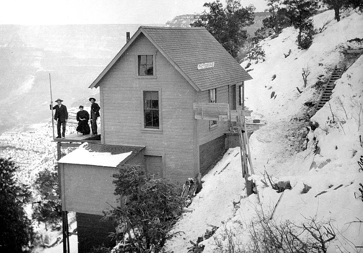 Emery, Blanche and Ellsworth Kolb (bottom) stand on the back porch of the original Kolb Studio circa 1904. (Photo/Kolb Brothers/Grand Canyon National Park Museum Collection)