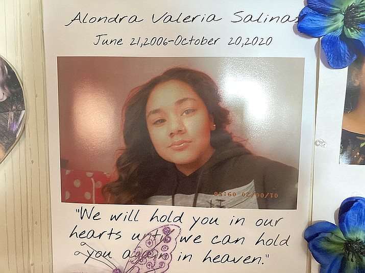 This photo of Alondra Salinas is displayed at her parents house, a tribute to the 14-year-old who died Oct. 20, 2020, of fentanyl-related overdose the day before she was to become a freshman at Bradshaw Mountain High School in Prescott Valley. In the last year, MatForce has identified eight fentanyl-related deaths of teens, six of those in the Prescott Valley area. (Nanci Hutson/Courier)