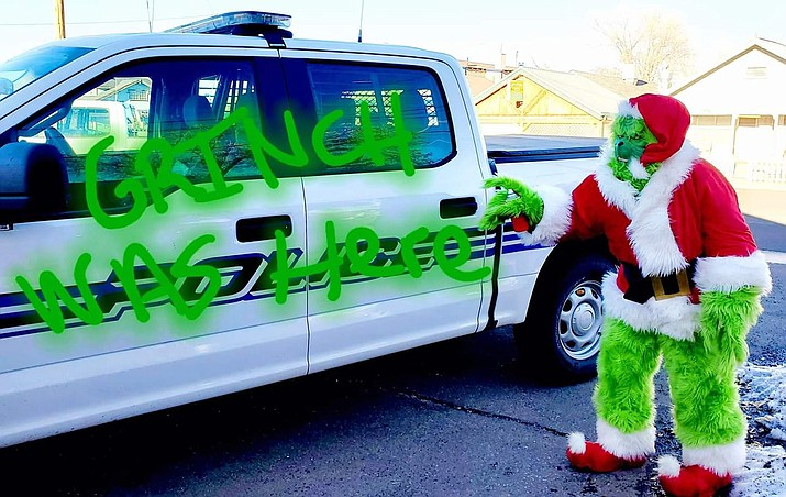 The Grinch has been sighted in various businesses in Williams as well as the Red Lakes area. If you have a Grinch sighting, please snap a photo and post it to social media and tag Williams Police Department and the city of Williams. (Photo/Williams Police Department)