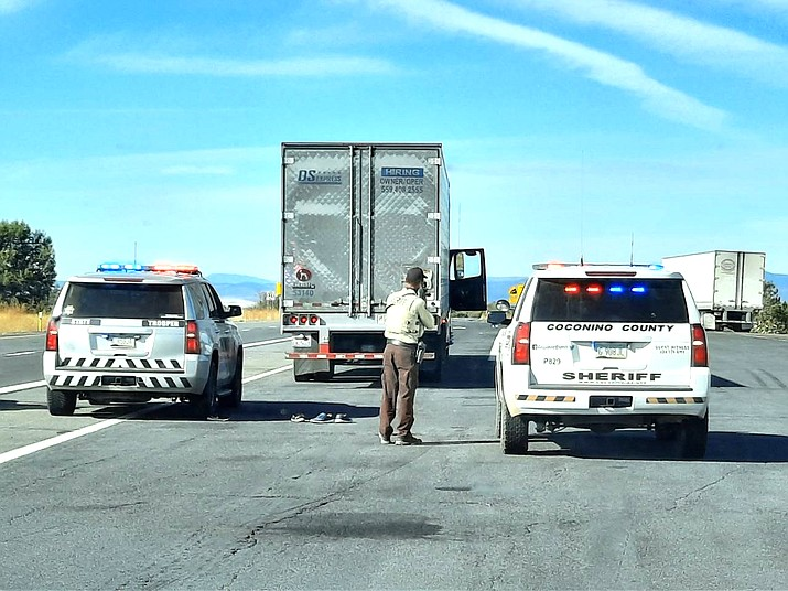 Arizona Department of Public Safety and Coconino County Sheriff's Office respond to a report of a bomb on Interstate 40 Nov. 20. (Submitted photo)