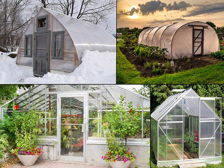 Backyard greenhouses can vary greatly in design, cost, and can be challenging to keep operational year-round. A typical hobby greenhouse built from a kit (lower right). An upscale greenhouse with heating and cooling for year-round growing (lower left). A homemade Gothic Arch greenhouse designed to shed snow (upper left). A low-tech/low cost hoop house (upper right). (Greenhouse Manual: An Introductory Guide for Educators, United States Botanic Garden)