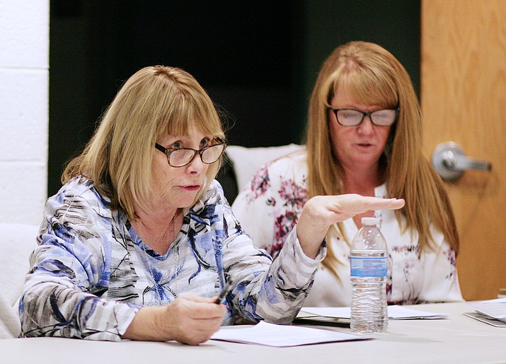 Linda Welsch, left, chairman of the Copper Canyon Fire Board, said Friday she will consider calling a Dec. 1 special meeting for the board to take a position either for or against Verde Connect. Also pictured, Board Member Brandi Bateman. VVN/Bill Helm