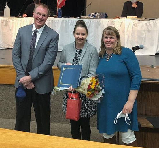 Caitlin Klein with HUSD Superintendent John Pothast and Principal Kimberly Grant. (Courtesy)